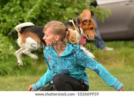 LUCENEC, SLOVAKIA MAY 13: Denisa Gombalova showing agility in Horse Day May 13, in Lucenec, Slovakia - stock photo