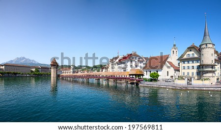 Lucern - famous swiss medieval town on the Reuss river - stock photo
