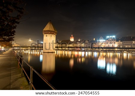 LUCERN, SWITZERLAND - 2 NOV 14: Lucern lake in a quite night in late autumn season - stock photo