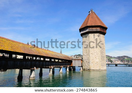 Lucerne chapel bridge (Kapellbrucke) and medieval water tower. Switzerland. - stock photo