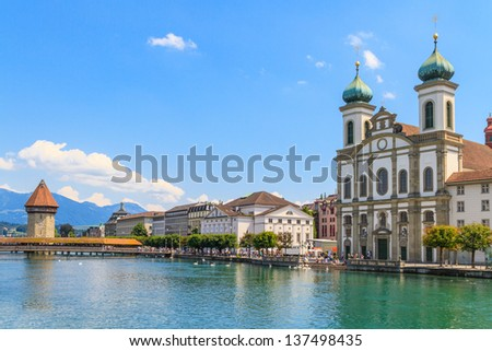Lucerne city view with river Reuss and Jesuit church, Switzerland - stock photo