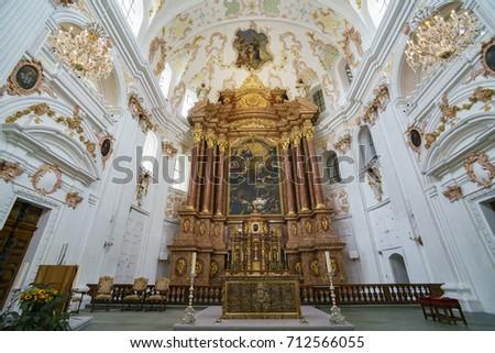 Lucerne, JUL 16: Interior View Of The Lucerne Jesuit Church On JUL 16,