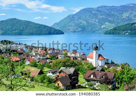Lucerne Lake by Ruetli, Switzerland - stock photo