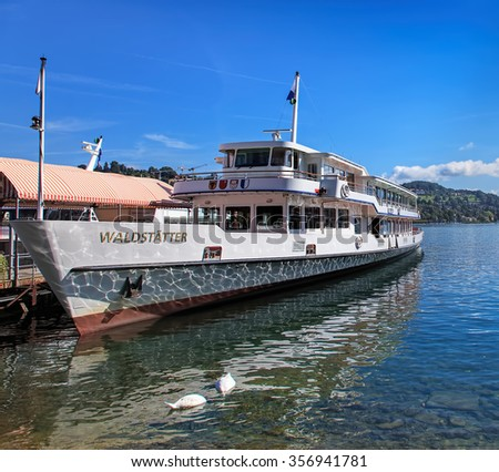 Lucerne, Switzerland - 29 August, 2011: MS Waldstatter at the pier on the Lake Lucerne. Lake Lucerne (German: Vierwaldstattersee) is a lake in central Switzerland, the fourth largest in the country.