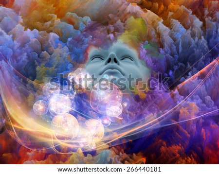 Lucid Dreaming series. Artistic background made of human face and colorful fractal clouds for use with projects on dreams, mind, spirituality, imagination and inner world - stock photo
