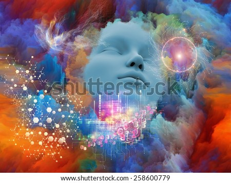 Lucid Dreaming series. Background design of human face and colorful fractal clouds on the subject of dreams, mind, spirituality, imagination and inner world - stock photo