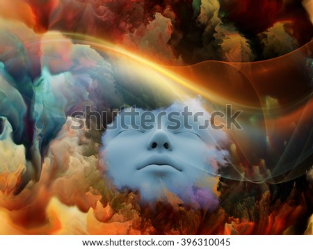 Lucid Dreaming series. Composition of human face and colorful fractal clouds on the subject of dreams, mind, spirituality, imagination and inner world - stock photo