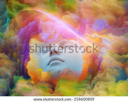 Lucid Dreaming series. Design composed of human face and colorful fractal clouds as a metaphor on the subject of dreams, mind, spirituality, imagination and inner world - stock photo