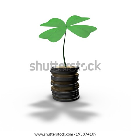 luck in business, abstract money concept with four-leaf clover - stock photo