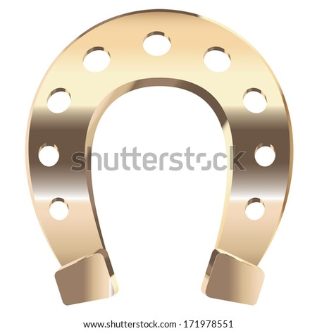 Luck symbol, gold horseshoe on white background. - stock photo