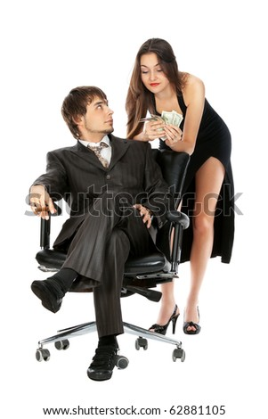 lucky attractive business couple isolated on white - stock photo