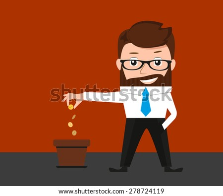 Lucky businessman investments money to success project. Conceptual illustration  - stock photo