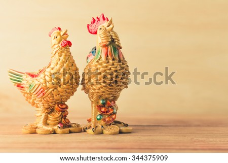 Lucky chicken vintage background - stock photo