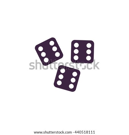 Lucky dices casino gambling game jackpot. Simple blue icon on white background - stock photo