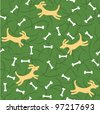 lucky dogs with bones seamless background - stock vector