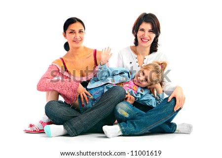 lucky family with child on white background