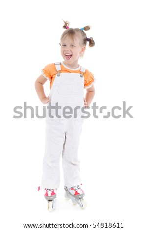 Lucky girl on roller skates. Isolated on white background
