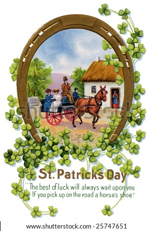 Lucky Horse Shoe - a 1912 vintage St. Patrick's Day greeting card illustration - stock photo