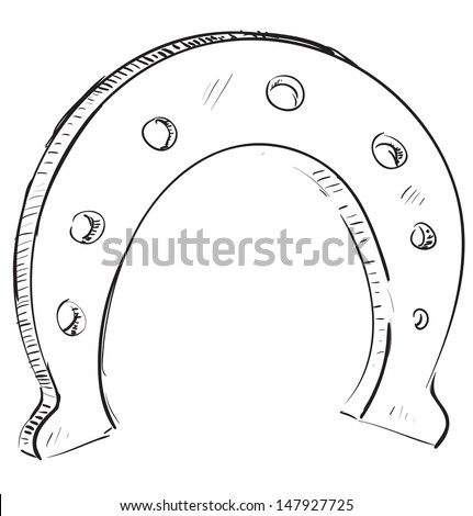 Lucky horseshoe cartoon icon - stock photo