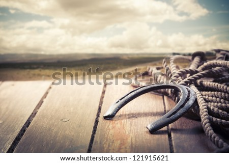 Lucky horseshoe on a porch - stock photo