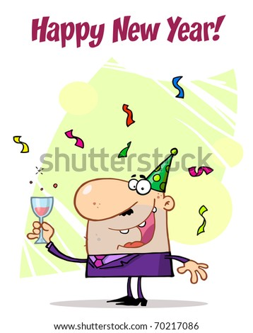 Lucky Man Toasting At A New Years Party - stock photo