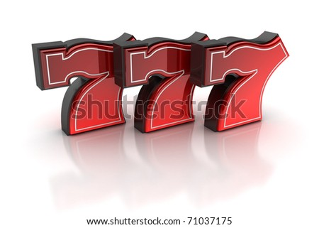 Lucky number seven over white background - stock photo