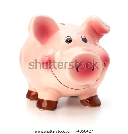 Lucky piggy bank isolated on white background