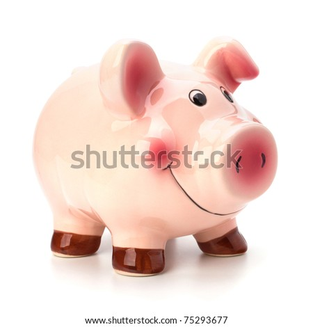 Lucky piggy bank isolated on white background - stock photo