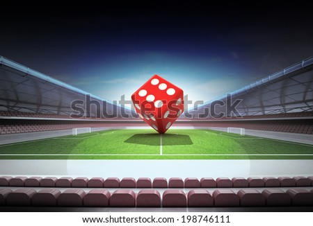 lucky red dice in midfield of magic football stadium illustration - stock photo