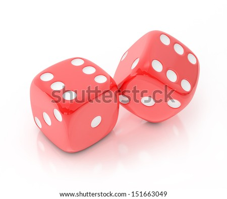 lucky red dice isolated on white background - stock photo