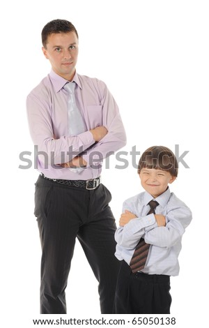 lucky son sitting on his father stretches - stock photo