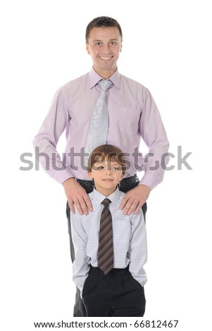 lucky son with the father. Isolated on white background - stock photo