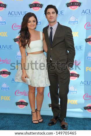 Lucy Hale & Darren Criss at the 2013 Teen Choice Awards at the Gibson Amphitheatre, Universal City, Hollywood. August 11, 2013  Los Angeles, CA - stock photo