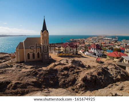 Luderitz general view with church (Namibia) - stock photo