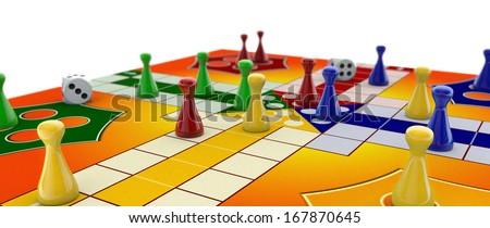 Ludo board game on white - stock photo