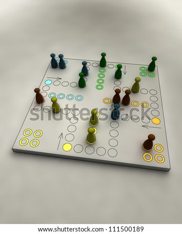 ludo game with lighting position on gametable conceptual shaded perspective render illustration - stock photo