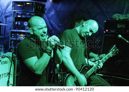 "LUDWIGSBURG, GERMANY - DECEMBER 7: Members of the rock group ""Tri State Corner"" live on stage at the concert December 7, 2011 in Ludwigsburg, Germany"