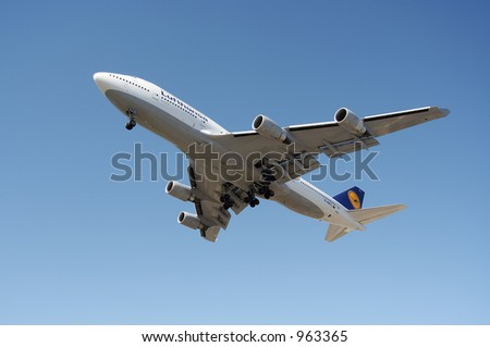 Lufthansa airlines airliner 747. - stock photo