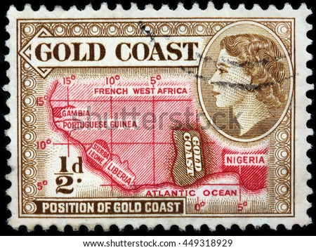 LUGA, RUSSIA - JUNE 25, 2016: A stamp printed by GOLD COAST shows image portrait of Queen Elizabeth II against position of Gold Coast on Africa map, circa 1953