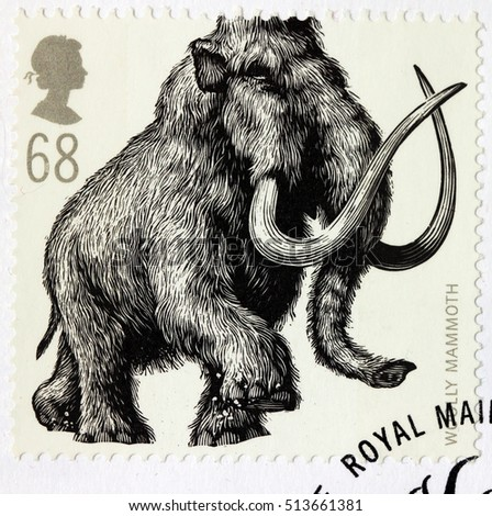 LUGA, RUSSIA - NOVEMBER 6, 2016: A stamp printed by GREAT BRITAIN shows Woolly Mammoth - Ice Age Animal, circa 2006