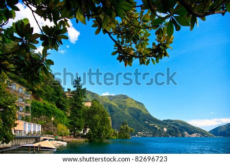 Lugano city with the view of lake Lugano - stock photo