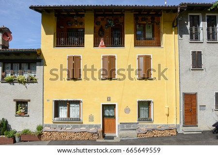 Lugano, Switzerland - 18 June 2017: Rural house at the village of Sorengo on Switzerland