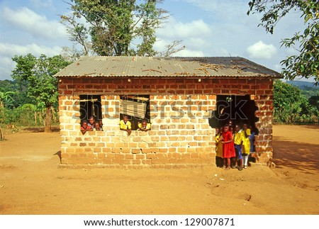 LUGASA, UGANDA - JULY 30: Village school on July 30, 2004 in Lugasa village, Buikwe region, Uganda. Most children can walk to school thanks to foreign charity - stock photo