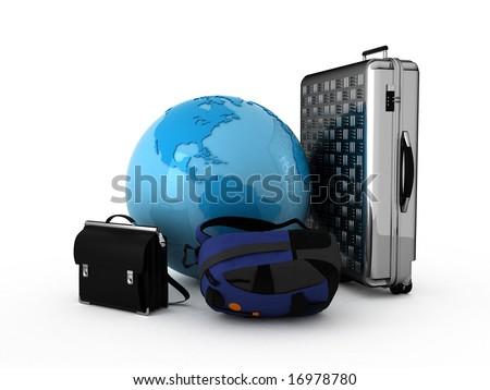 Luggage and blue globe. Isolated. - stock photo