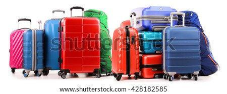 Luggage consisting of large suitcases and backpacks isolated on white. - stock photo