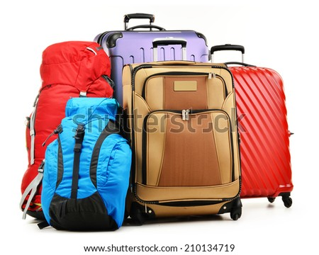 Luggage consisting of large suitcases and rucksacks isolated on white. - stock photo