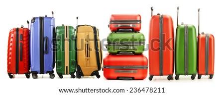 Luggage consisting of large suitcases isolated on white background. - stock photo