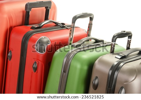 Luggage consisting of large suitcases on white - stock photo