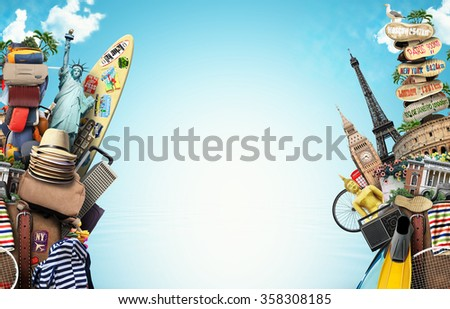 Luggage, goods for holidays, leisure and travel - stock photo