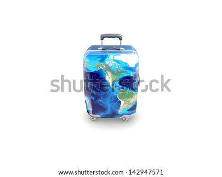 luggage isolated on white background - stock photo